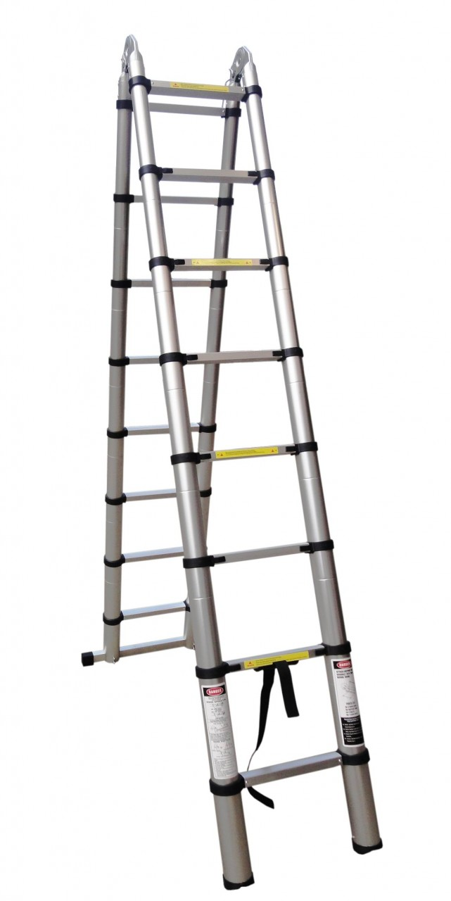 5M MULTI PURPOSE TELESCOPIC A-FRAME FOLDING LADDER - Eazy Goods