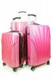 ABS HARD SHELL 4 WHEEL SPIN LUGGAGE CASE - PINK SET OF 3