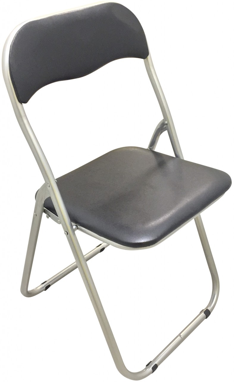 Black Padded Metal Folding Chairs Box Of 4 Eazy Goods