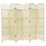 WICKER HAND MADE ROOM DIVIDER - CREAM 6 PANELS
