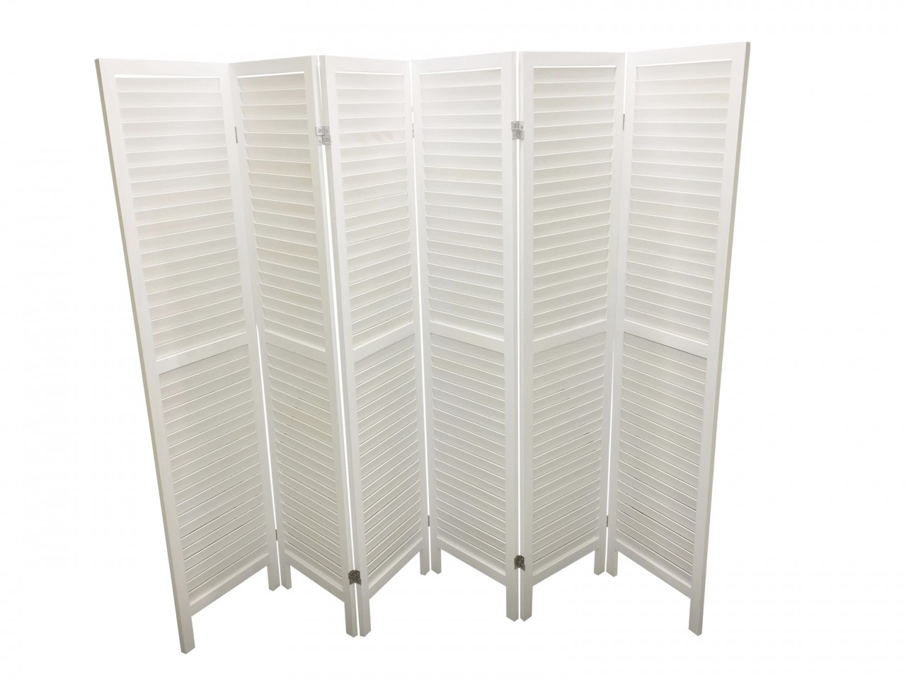 WOODEN SLAT ROOM DIVIDER WHITE 6 PANELS Eazy Goods