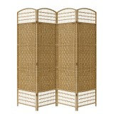 WICKER HAND MADE ROOM DIVIDER - NATURAL 4 PANELS