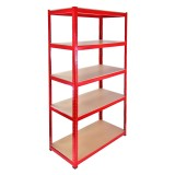 Heavy Duty Metal Shelving Unit 150 x 75 x 30 cm - Red