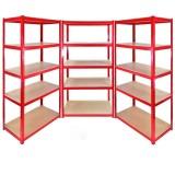 Set Of 3 Heavy Duty Metal Shelving Unit 180 x 90 x 40 cm - Red