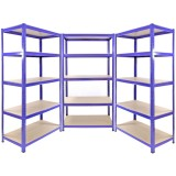Set Of 3 Heavy Duty Metal Shelving Unit 150 x 75 x 30 cm - Blue