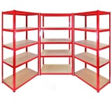 Set Of 3 Heavy Duty Metal Shelving Unit 150 x 75 x 30 cm - Red