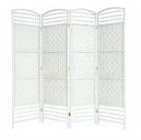 WICKER HAND MADE ROOM DIVIDER - WHITE 4 PANELS