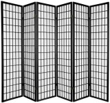 JAPANESE ROOM DIVIDER  - BLACK 6 PANELS