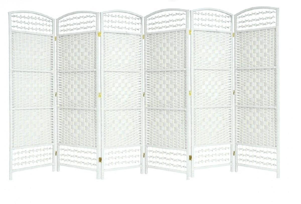 Wicker Hand Made Room Divider White 6 Panels