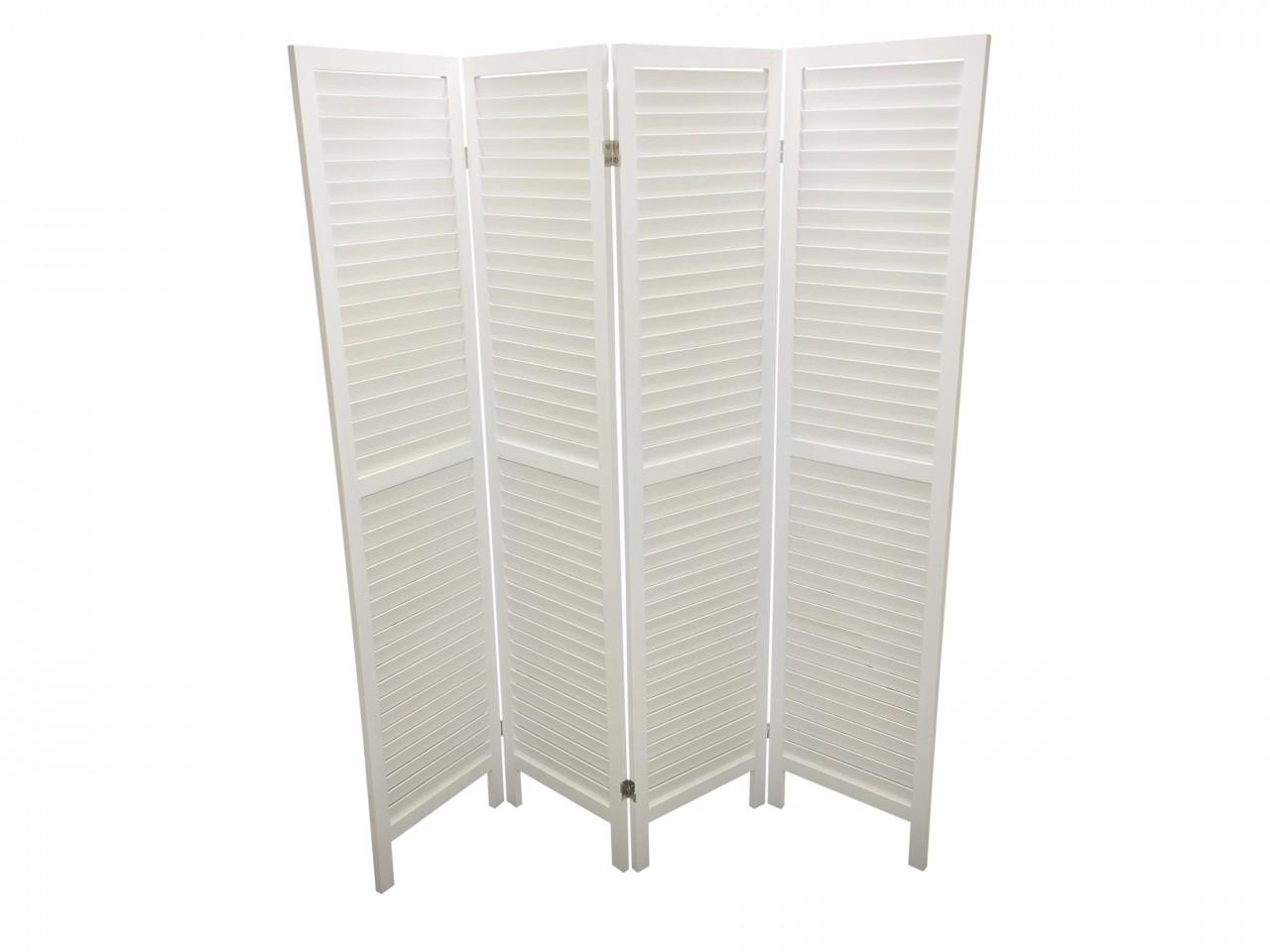 WOODEN SLAT ROOM DIVIDER WHITE 4 PANELS Eazy Goods