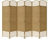 WICKER HAND MADE ROOM DIVIDER - NATURAL 6 PANELS