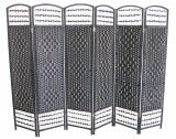 WICKER HAND MADE ROOM DIVIDER - BLACK 6 PANELS