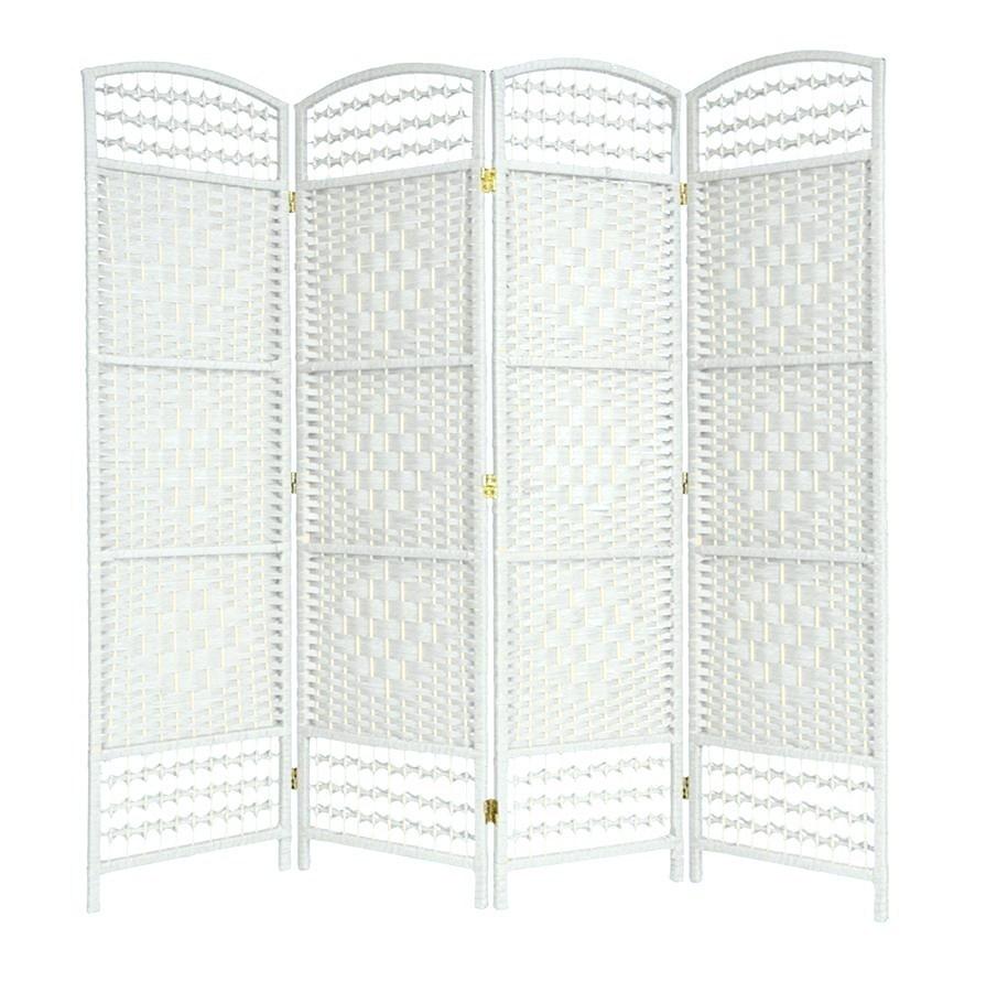 Wicker Hand Made Room Divider White 4 Panels