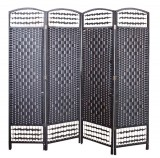 WICKER HAND MADE ROOM DIVIDER - BLACK 4 PANELS
