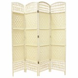 WICKER HAND MADE ROOM DIVIDER - CREAM 4 PANELS